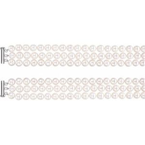 "Sterling Silver Freshwater Cultured Pearl 3 Row 22"" Necklace - Siddiqui Jewelers"
