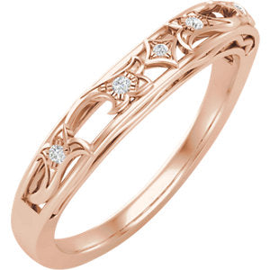 14K Rose .04 CTW Diamond Matching Band for 5.2 mm Round Engagement - Siddiqui Jewelers