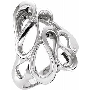 14K White 22 mm Freeform Ring - Siddiqui Jewelers