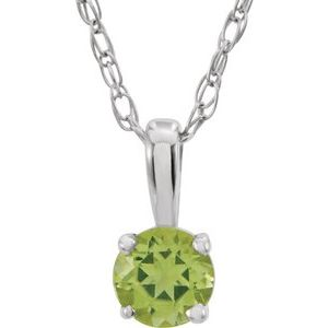 "14K White 3 mm Round August Genuine Peridot Youth Birthstone 14"" Necklace - Siddiqui Jewelers"