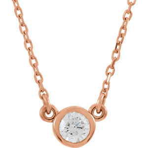"14K Rose 1/6 CTW Diamond 18"" Necklace - Siddiqui Jewelers"