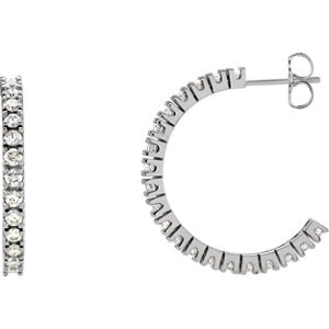 14K White 1 5/8 CTW Diamond Hoop Earrings - Siddiqui Jewelers