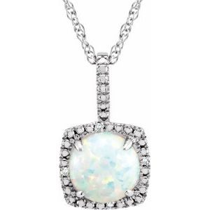 "Sterling Silver 7 mm Created Opal & .015 CTW Diamond 18"" Necklace - Siddiqui Jewelers"