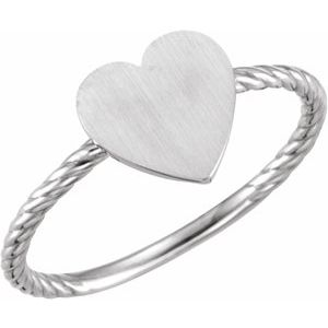 Continuum Sterling Silver Heart Engravable Rope Ring - Siddiqui Jewelers