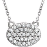 "14K White 1/5 CTW Diamond Oval Cluster 16-18"" Necklace - Siddiqui Jewelers"