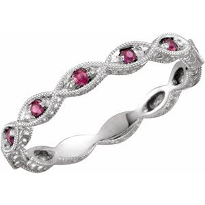 14K White Ruby Anniversary Band Size 7 - Siddiqui Jewelers