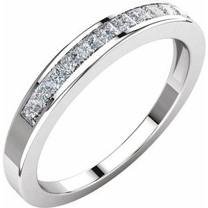 14K White 1/3 CTW Diamond Anniversary Band Size 7 - Siddiqui Jewelers
