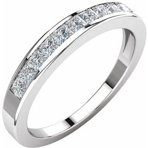 14K White 1/2 CTW Diamond Anniversary Band Size 6 - Siddiqui Jewelers