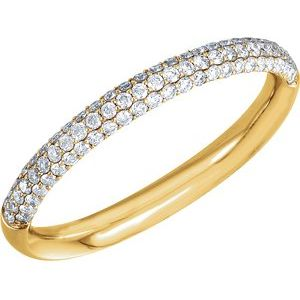 14K Yellow 3/8 CTW Diamond Pavé Anniversary Band Size 5 - Siddiqui Jewelers