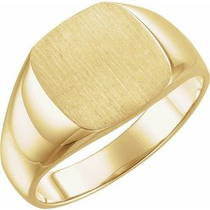14K Yellow 12x12 mm Square Signet Ring - Siddiqui Jewelers