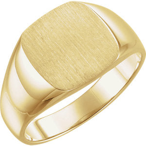 10K Yellow 12 mm Square Signet Ring