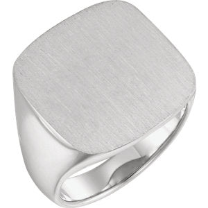 Sterling Silver 20 mm Square Signet Ring - Siddiqui Jewelers