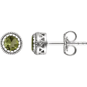 "14K White Peridot ""August"" Birthstone Earrings"