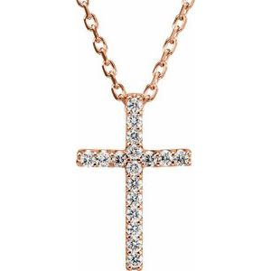 "14K Rose .07 CTW Diamond Petite Cross 16"" Necklace - Siddiqui Jewelers"