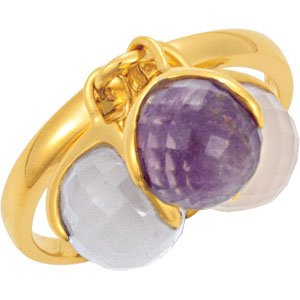 18K Yellow Vermeil Multi-Gemstone Ring Size 7 - Siddiqui Jewelers