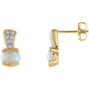 14K Yellow Opal & .07 CTW Diamond Earrings - Siddiqui Jewelers