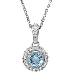 "14K White Aquamarine & 1/4 CTW Diamond 18"" Necklace - Siddiqui Jewelers"