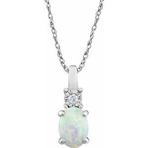 "14K White Created Opal & .02 CTW Diamond 18"" Necklace - Siddiqui Jewelers"