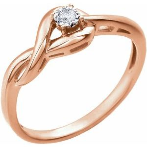 14K Rose .04 CT Diamond Ring