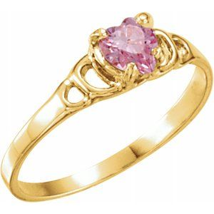 14K Yellow 4X4 mm Pink Cubic Zirconia Youth Heart Ring - Siddiqui Jewelers