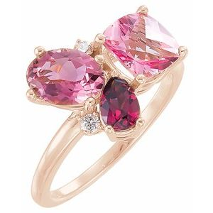 14K Rose Multi-Gemstone & .05 CTW Diamond Cluster Ring - Siddiqui Jewelers