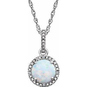 "Sterling Silver Lab-Grown Opal & .01 CTW Diamond 18"" Necklace - Siddiqui Jewelers"