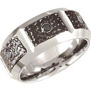 Black PVD Cobalt 1/4 CTW Black Diamond 10 mm Band Size 14 - Siddiqui Jewelers