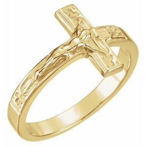 10K Yellow 15 mm Crucifix Chastity Ring Size 8 - Siddiqui Jewelers