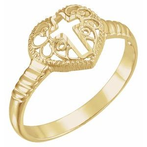 14K Yellow Cross Heart Ring - Siddiqui Jewelers