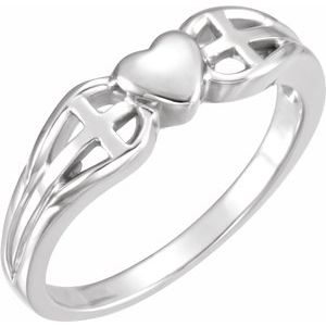 Sterling Silver 5.7 mm Heart & Cross Ring - Siddiqui Jewelers