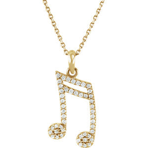 "14K Yellow 1/5 CTW Diamond Double Sixteenth Note 16"" Necklace - Siddiqui Jewelers"