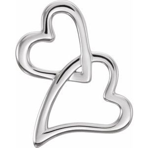 14K White Double Heart Slide Pendant - Siddiqui Jewelers