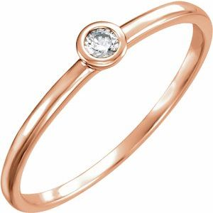 14K Rose .06 CTW Diamond Bezel-Set Solitaire Ring