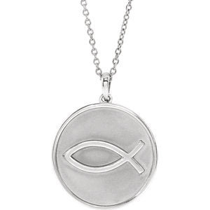 "Sterling Silver 20.3x18.4 mm Ichthus (Fish) 16-18"" Necklace - Siddiqui Jewelers"