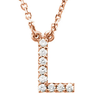 "14K Rose Letter ""L"" .08 CTW Diamond 16"" Necklace"