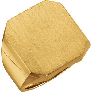 14K Yellow 20x18 mm Octagon Signet Ring