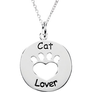 "Sterling Silver Heart U Back™ Cat Lover Paw 18"" Necklace"