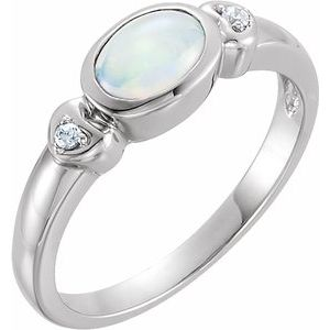 14K White Opal & .03 CTW Diamond Accented Ring - Siddiqui Jewelers
