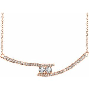 "14K Rose  3/8 CTW Diamond Two-Stone Bar 16-18"" Necklace - Siddiqui Jewelers"