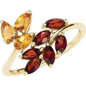 14K Yellow Citrine & Mozambique Garnet Bypass Ring Size 8 - Siddiqui Jewelers
