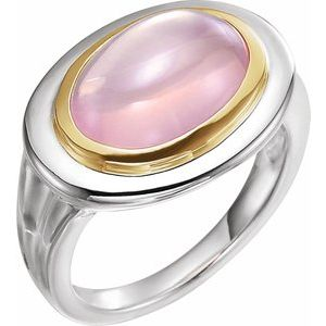 Sterling Silver & 14K Yellow Rose Quartz Ring - Siddiqui Jewelers