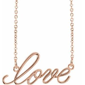 "14K Rose ""Love"" 16.5"" Necklace - Siddiqui Jewelers"