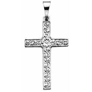 Platinum 20x13 mm Floral-Inspired Cross Pendant - Siddiqui Jewelers