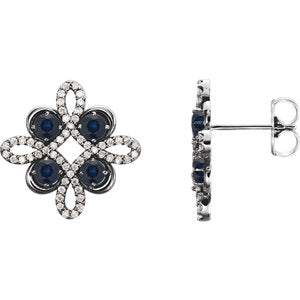 14K White Chatham® Created Blue Sapphire & 1/4 CTW Diamond Earrings - Siddiqui Jewelers
