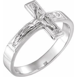 14K White 12 mm Crucifix Chastity Ring Size 7 - Siddiqui Jewelers