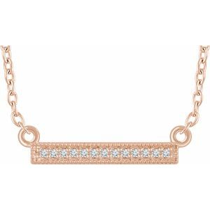 "14K Rose .05 CTW Diamond Bar 16-18"" Necklace - Siddiqui Jewelers"