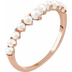 14K Rose Freshwater Cultured Pearl Ring - Siddiqui Jewelers
