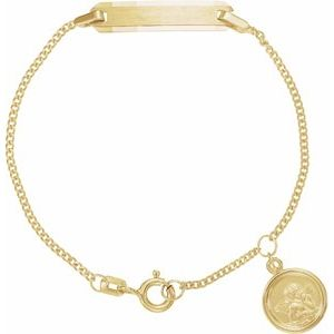 "14K Yellow Youth Identification 4.5"" Bracelet with Angel Charm - Siddiqui Jewelers"