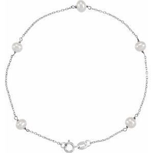 "14K White Freshwater Cultured Pearl Station 7"" Bracelet - Siddiqui Jewelers"