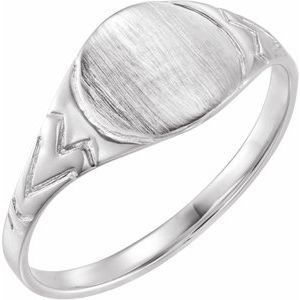 Sterling Silver 6 mm Round Youth Signet Ring - Siddiqui Jewelers